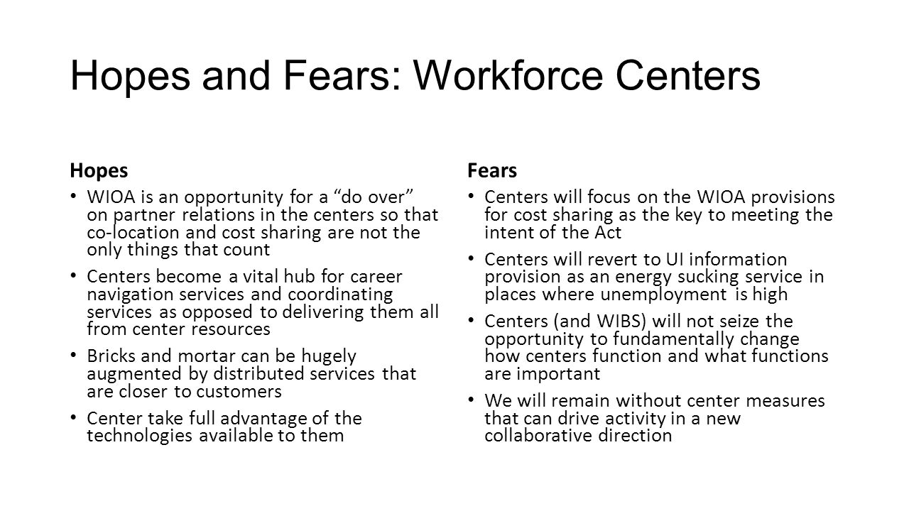 Hopes and Fears: Workforce Centers Hopes WIOA is an opportunity for a do over on partner relations in the centers so that co-location and cost sharing are not the only things that count Centers become a vital hub for career navigation services and coordinating services as opposed to delivering them all from center resources Bricks and mortar can be hugely augmented by distributed services that are closer to customers Center take full advantage of the technologies available to them Fears Centers will focus on the WIOA provisions for cost sharing as the key to meeting the intent of the Act Centers will revert to UI information provision as an energy sucking service in places where unemployment is high Centers (and WIBS) will not seize the opportunity to fundamentally change how centers function and what functions are important We will remain without center measures that can drive activity in a new collaborative direction