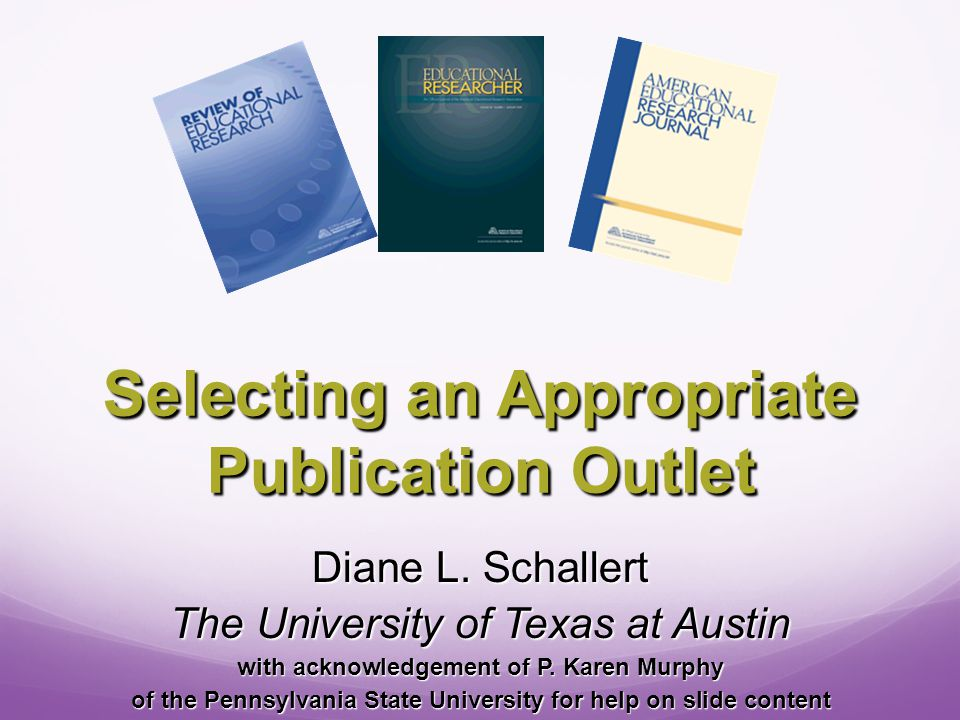 Identifying the Possibilities Go to the library and thumb through the current periodicals Go to the library and thumb through the current periodicals Scan the journals in your literature review or reference list Scan the journals in your literature review or reference list Reference Guides: Reference Guides: Journal Citation Reports Journal Citation Reports Ulrich's Periodicals Directory Ulrich's Periodicals Directory Directory of Open Access Journals Directory of Open Access Journals Cabell's Directory Cabell's Directory