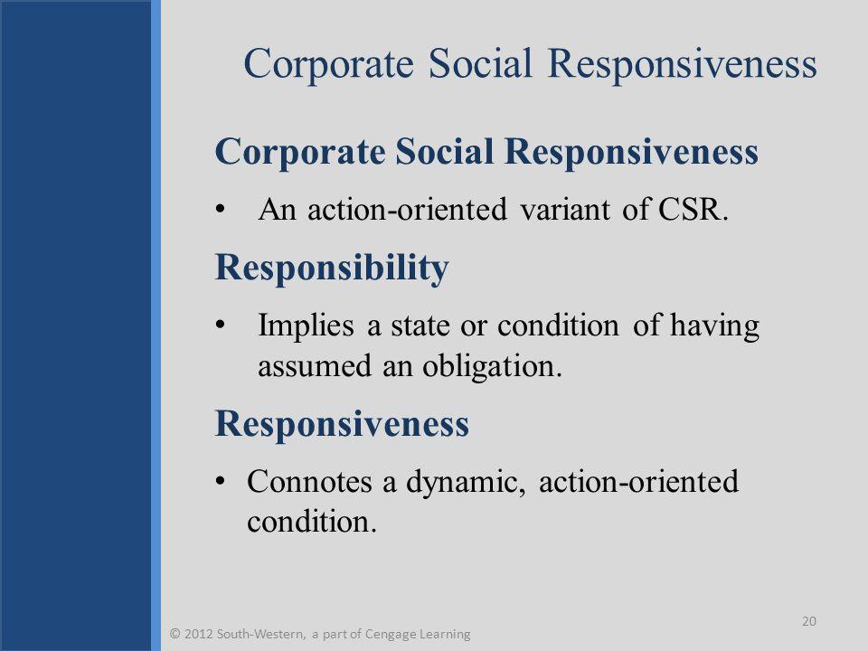 Corporate Social Responsiveness Alternative Views  Sethi's Three-Stage Schema Social obligation, social responsibility, and social responsiveness.