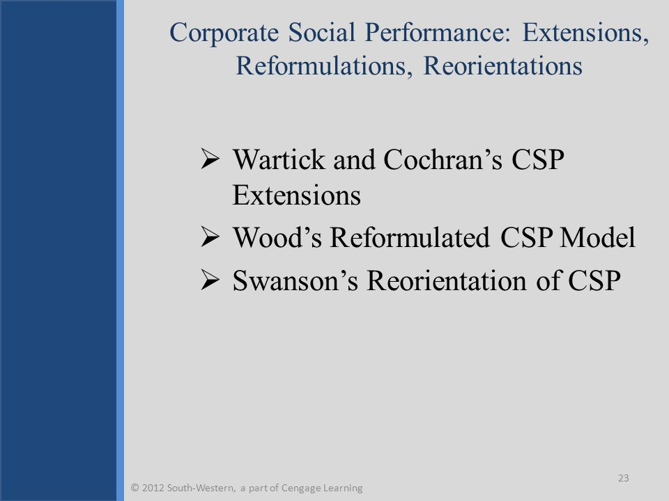 Wartick and Cochran's Corporate Social Performance Model Extensions © 2012 South-Western, a part of Cengage Learning 24