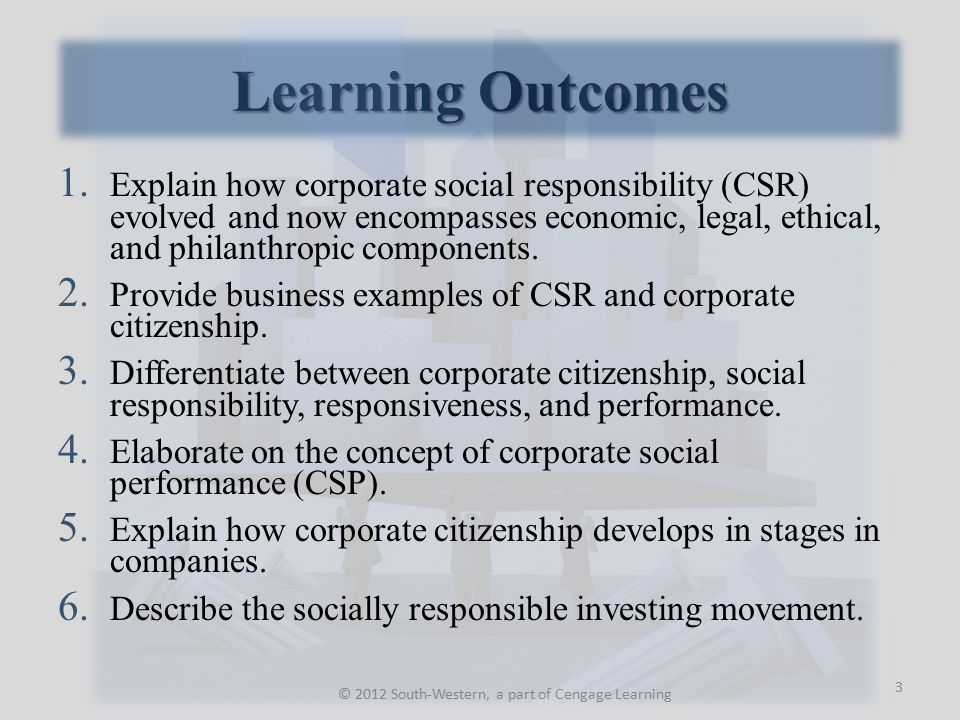 Chapter Outline © 2012 South-Western, a part of Cengage Learning The Corporate Social Responsibility Concept Arguments Against and For Corporate Social Responsibility Corporate Social Responsiveness Corporate Social Performance Corporate Citizenship Business's Interest in Corporate Citizenship Social Performance and Financial Performance Relationship Socially Responsible or Ethical Investing Summary 4