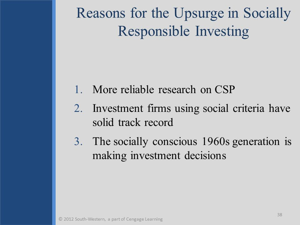 Key Terms Business for Social Responsibility Corporate citizenship Corporate social performance Corporate social responsibility Corporate social responsiveness Corporate sustainability Economic responsibilities Ethical responsibilities Global corporate citizenship Paternalism Performance Philanthropic responsibilities Philanthropy Pyramid of CSR Socially responsible or ethical investing Stages of corporate citizenship Sustainability Triple Bottom Line © 2012 South-Western, a part of Cengage Learning 39