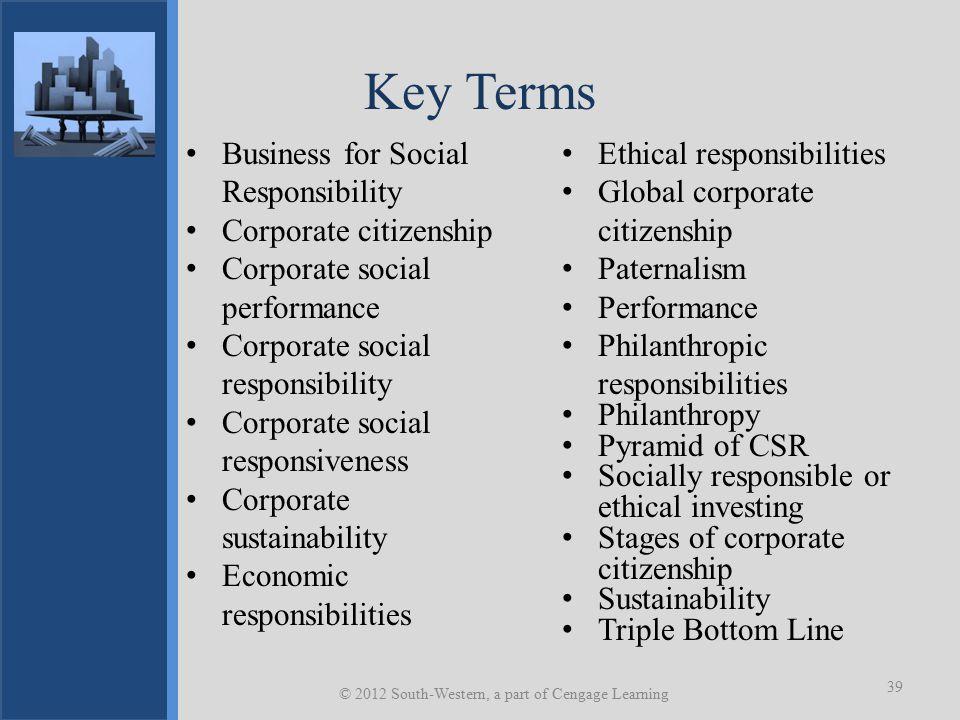 Key Terms Business for Social Responsibility Corporate citizenship Corporate social performance Corporate social responsibility Corporate social respo