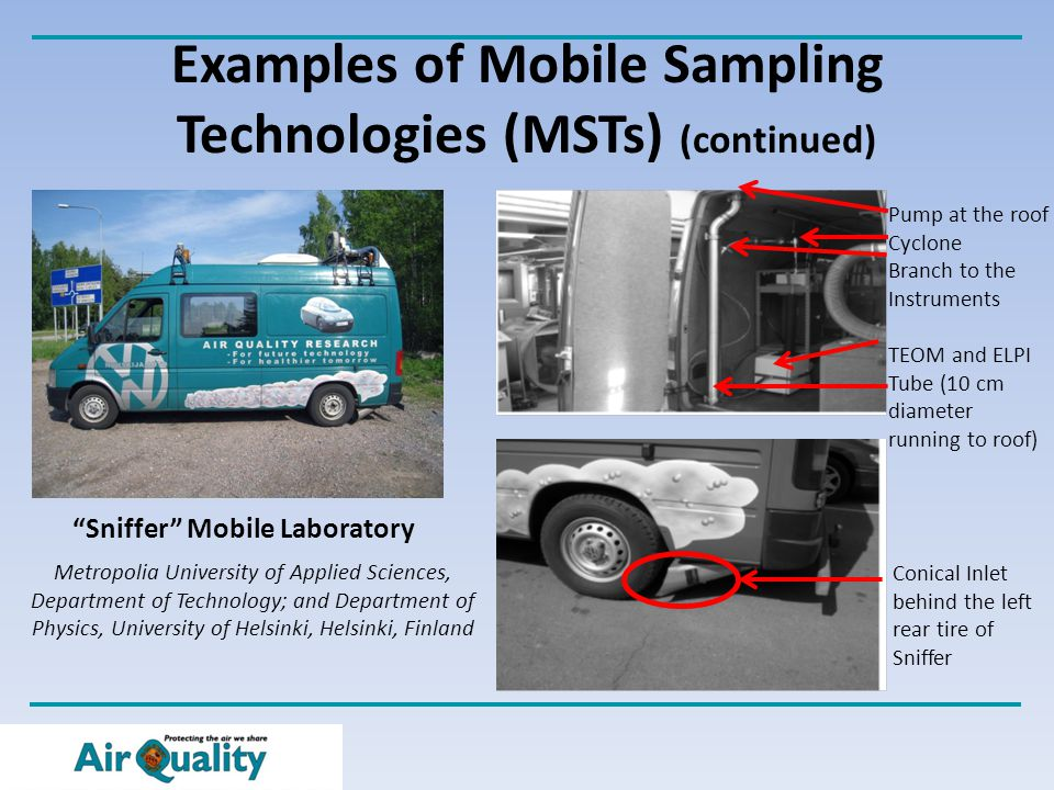 Examples of Mobile Sampling Technologies (MSTs) (continued) Sniffer Mobile Laboratory Metropolia University of Applied Sciences, Department of Technology; and Department of Physics, University of Helsinki, Helsinki, Finland Conical Inlet behind the left rear tire of Sniffer Pump at the roof Cyclone Branch to the Instruments TEOM and ELPI Tube (10 cm diameter running to roof)