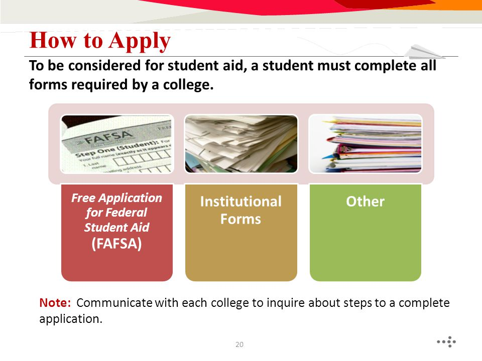 Note: Communicate with each college to inquire about steps to a complete application. To be considered for student aid, a student must complete all fo
