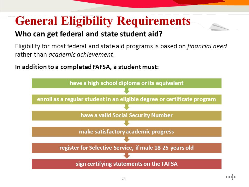 Eligibility for most federal and state aid programs is based on financial need rather than academic achievement. In addition to a completed FAFSA, a s