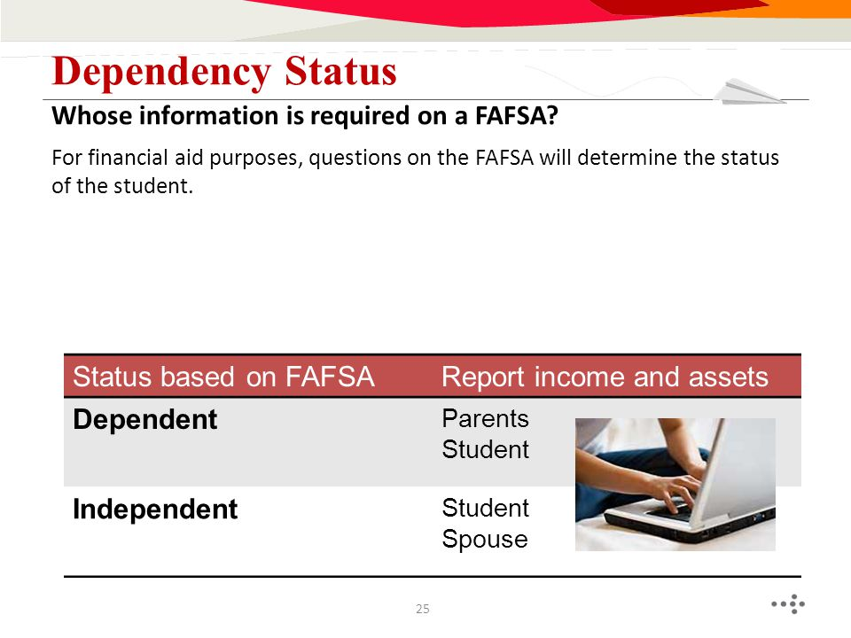 For financial aid purposes, questions on the FAFSA will determine the status of the student. Whose information is required on a FAFSA? Dependency Stat