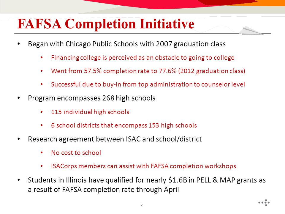 Began with Chicago Public Schools with 2007 graduation class Financing college is perceived as an obstacle to going to college Went from 57.5% complet