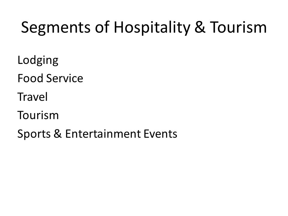 Segments of Hospitality & Tourism Lodging Food Service Travel Tourism Sports & Entertainment Events