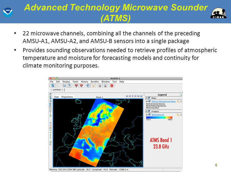 Cross-track Infrared Sounder (CrIS) 1,305 infrared spectral channels Designed to provide high vertical resolution information on the atmosphere s structure of temperature and water vapor.