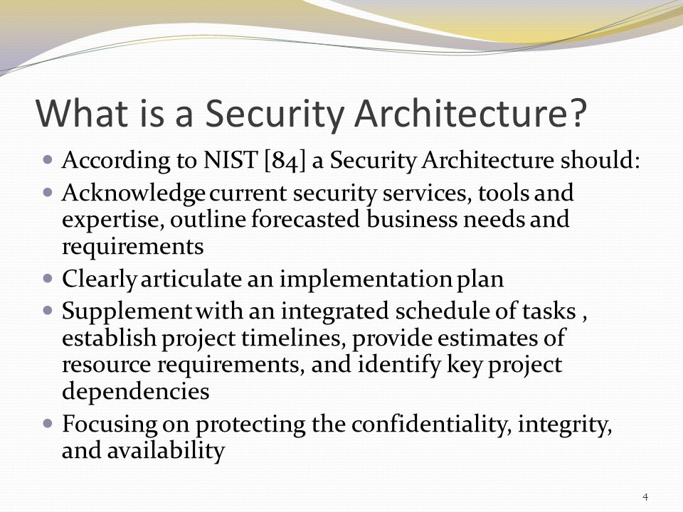 Architecture Development Issues Scope of architecture, or size of program, may be different than currently available expertise Level of acceptable risk is subjective (no industry standard) Inclusion of security architecture as an embedded element 5