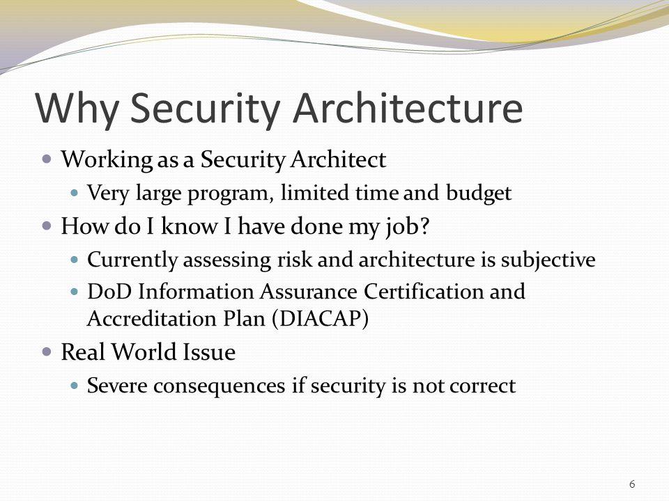 Existing Architecture Frameworks Zachman Framework [98] Department of Defense Architecture Framework (DoDAF) [96] Sherwood Applied Business Security Architecture (SABSA) [91] Information Assurance Technical Framework (IATF) [75] 17
