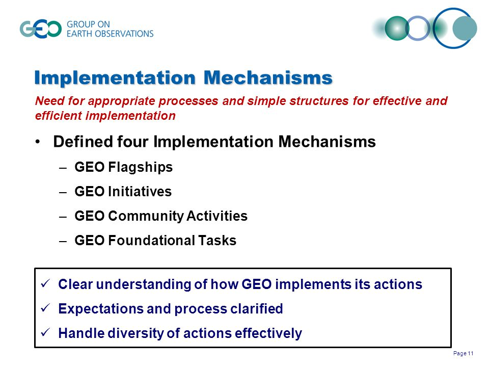 Page 11 Implementation Mechanisms Need for appropriate processes and simple structures for effective and efficient implementation Defined four Impleme