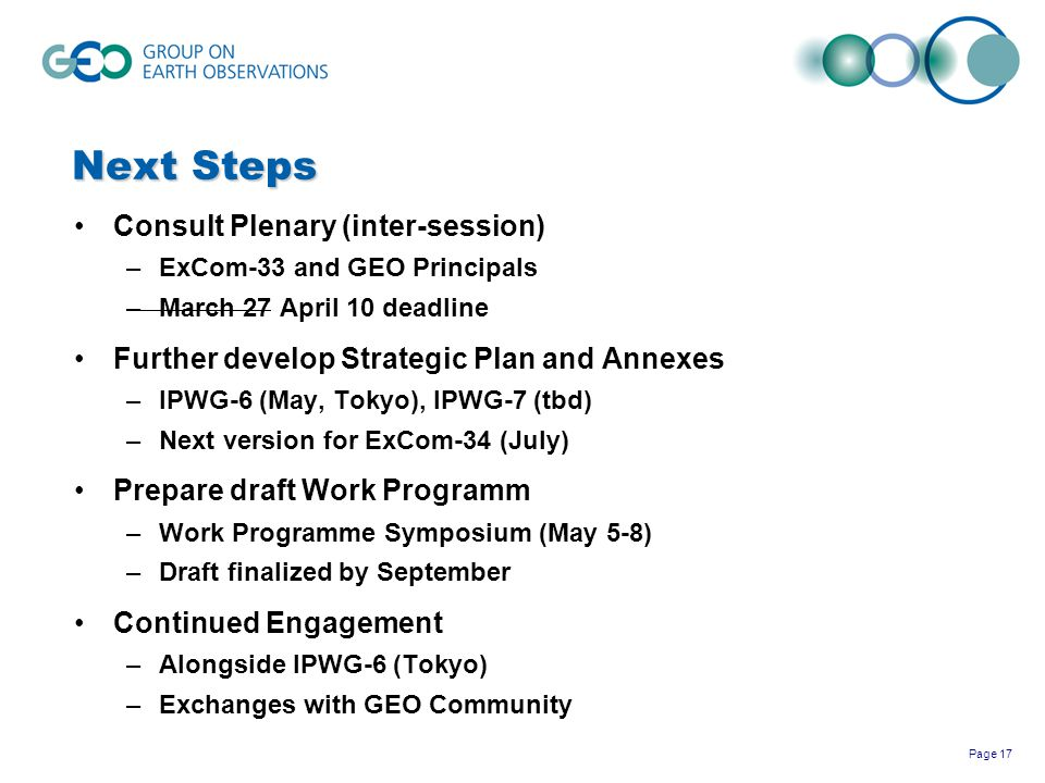 Page 17 Next Steps Consult Plenary (inter-session) –ExCom-33 and GEO Principals –March 27 April 10 deadline Further develop Strategic Plan and Annexes