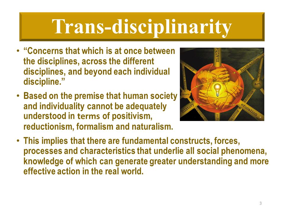 """Trans-disciplinarity """"Concerns that which is at once between the disciplines, across the different disciplines, and beyond each individual discipline."""