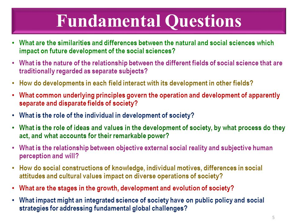 Fundamental Questions What are the similarities and differences between the natural and social sciences which impact on future development of the soci