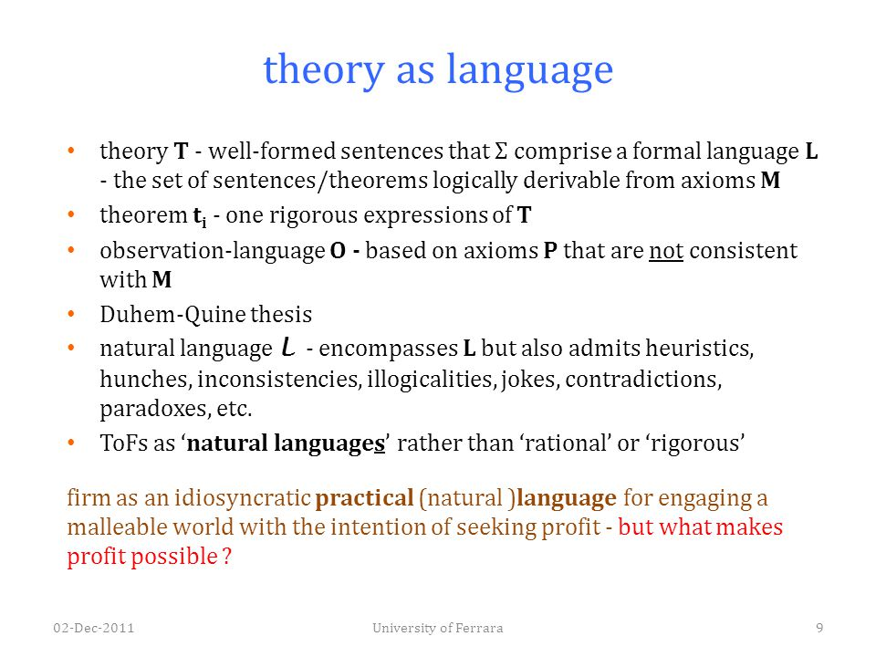 theory as language theory T - well-formed sentences that Σ comprise a formal language L - the set of sentences/theorems logically derivable from axiom