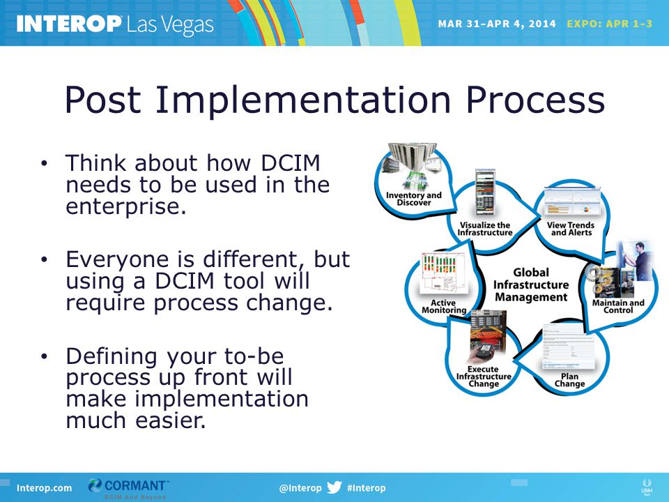 Post Implementation Process Think about how DCIM needs to be used in the enterprise.