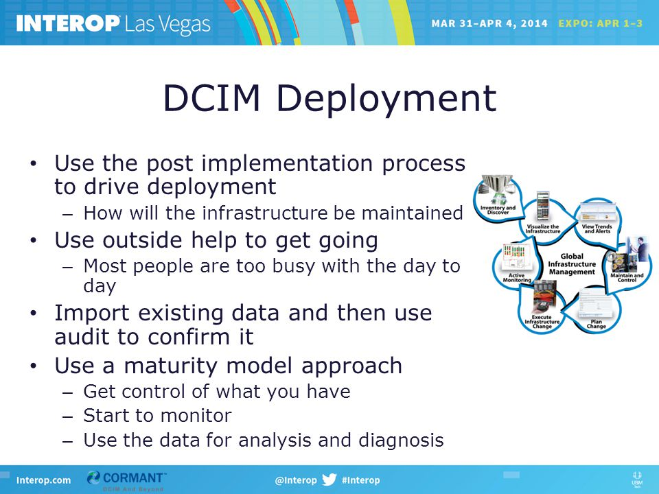 DCIM Deployment Use the post implementation process to drive deployment – How will the infrastructure be maintained Use outside help to get going – Most people are too busy with the day to day Import existing data and then use audit to confirm it Use a maturity model approach – Get control of what you have – Start to monitor – Use the data for analysis and diagnosis