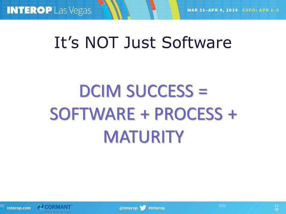 It's NOT Just Software DCIM SUCCESS = SOFTWARE + PROCESS + MATURITY
