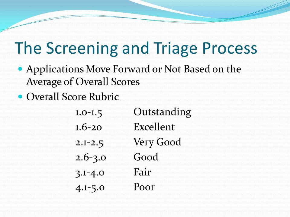 The Screening and Triage Process Applications Move Forward or Not Based on the Average of Overall Scores Overall Score Rubric 1.0-1.5Outstanding 1.6-20Excellent 2.1-2.5Very Good 2.6-3.0Good 3.1-4.0Fair 4.1-5.0Poor