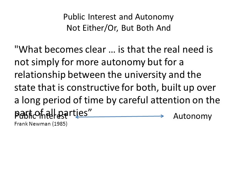 Public Interest and Autonomy Not Either/Or, But Both And