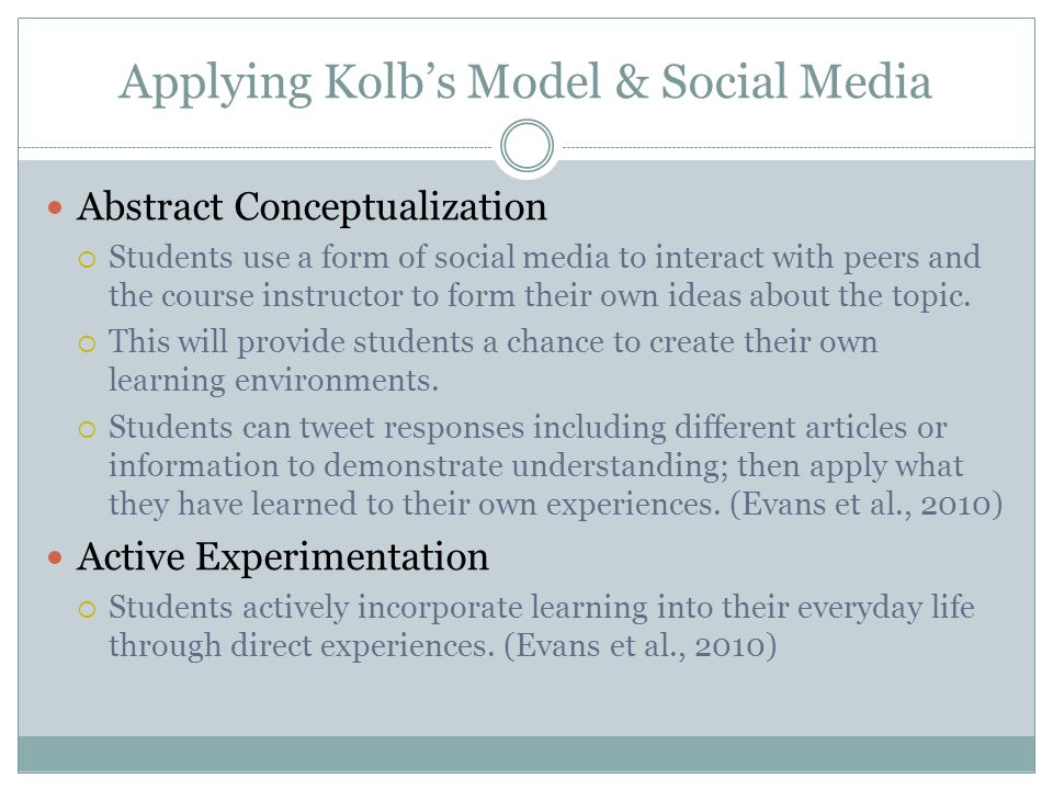 Applying Kolb's Model & Social Media Abstract Conceptualization  Students use a form of social media to interact with peers and the course instructor