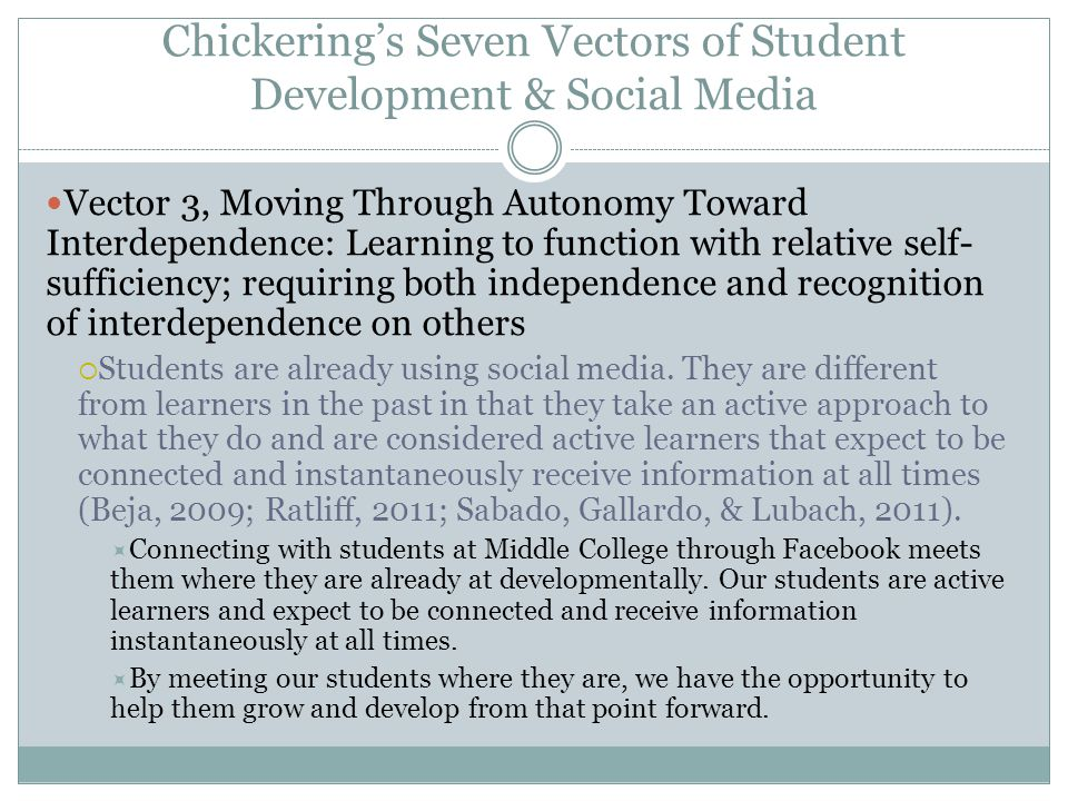 Chickering's Seven Vectors of Student Development & Social Media Vector 3, Moving Through Autonomy Toward Interdependence: Learning to function with r