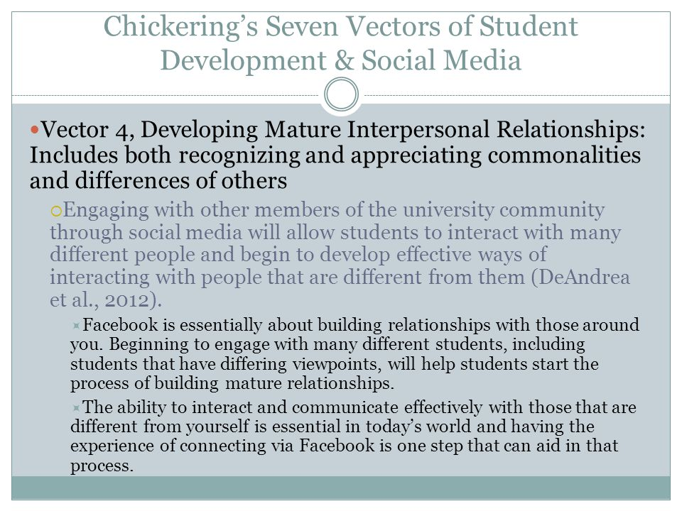 Chickering's Seven Vectors of Student Development & Social Media Vector 4, Developing Mature Interpersonal Relationships: Includes both recognizing an