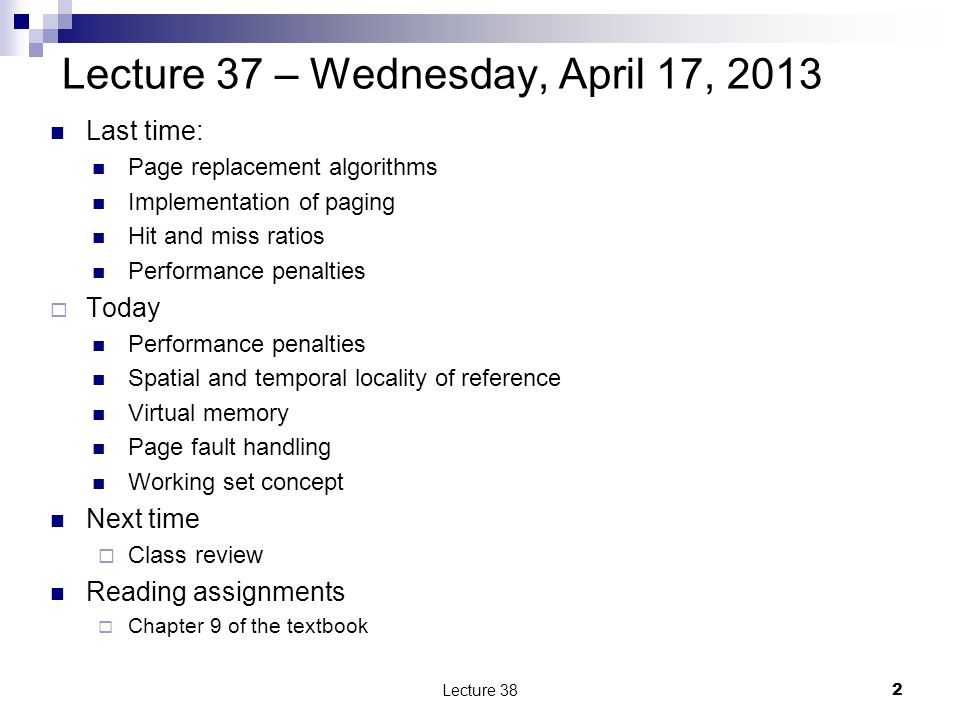 Handling a page fault Lecture 3813