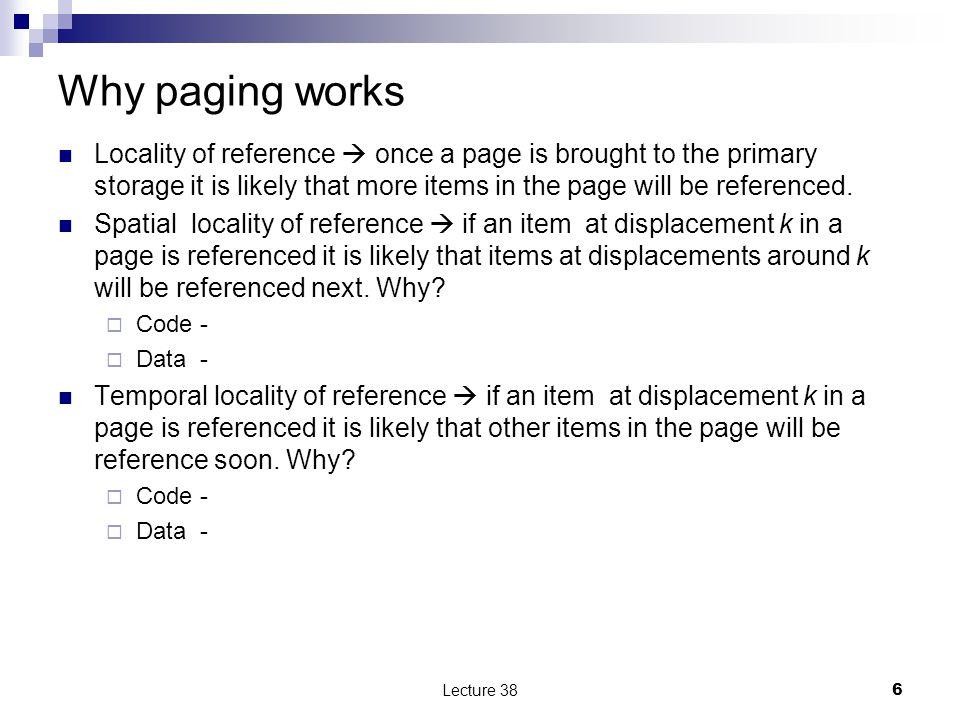 Virtual memory Separation of user logical memory from physical memory.