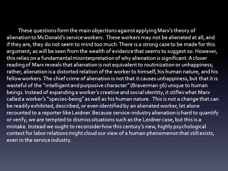 marxs theory of alienation essay