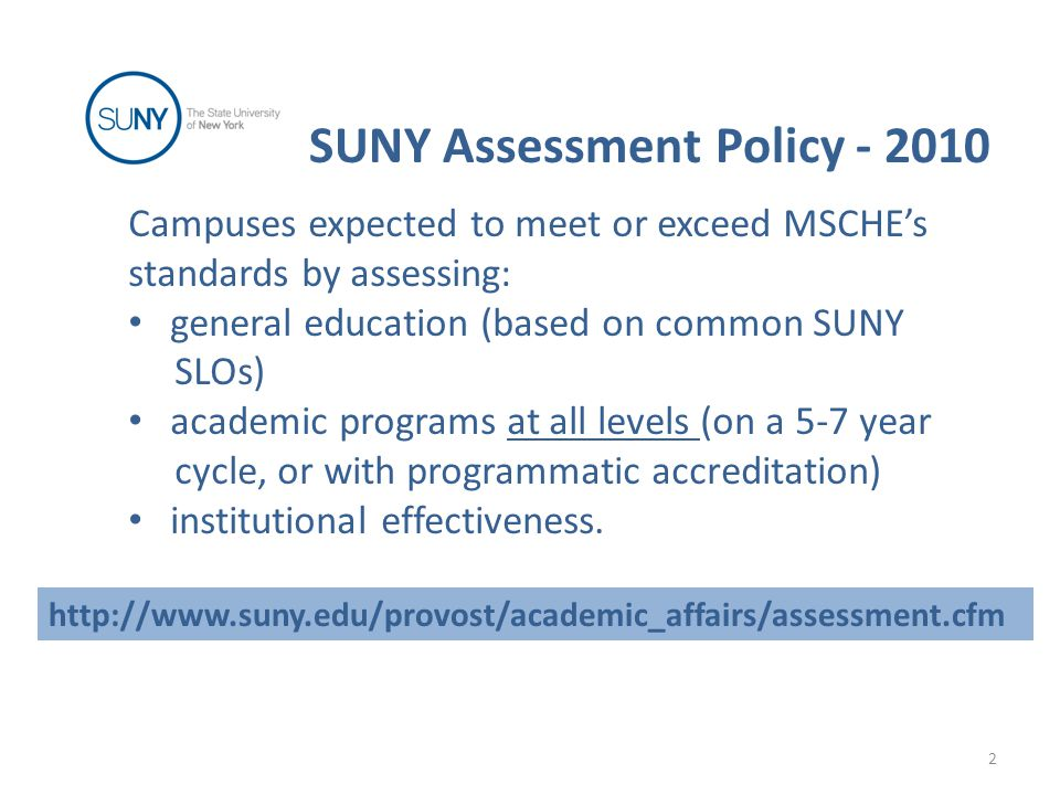 Campuses expected to meet or exceed MSCHE's standards by assessing: general education (based on common SUNY SLOs) academic programs at all levels (on a 5-7 year cycle, or with programmatic accreditation) institutional effectiveness.