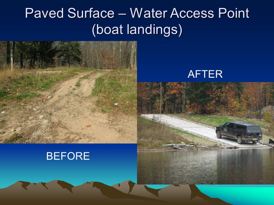 Paved Surface – Water Access Point (boat landings) BEFORE AFTER