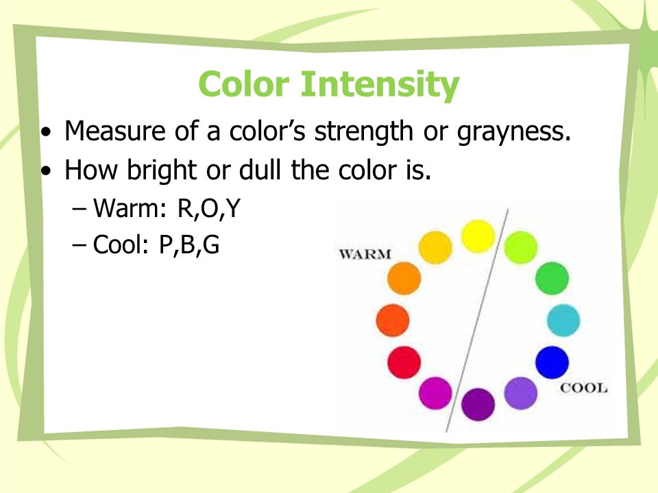 Color Intensity Measure of a color's strength or grayness.