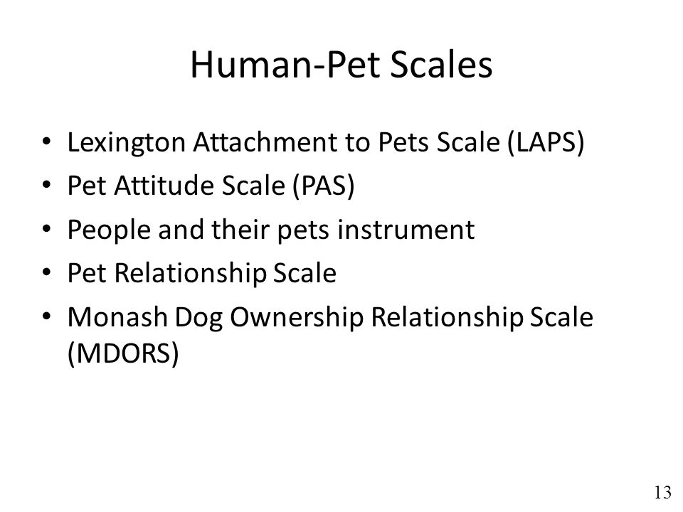 Human-Pet Scales Lexington Attachment to Pets Scale (LAPS) Pet Attitude Scale (PAS) People and their pets instrument Pet Relationship Scale Monash Dog Ownership Relationship Scale (MDORS) 13