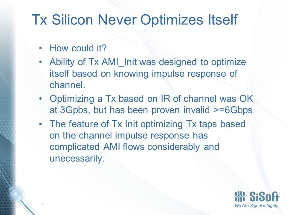 Tx Silicon Never Optimizes Itself How could it.