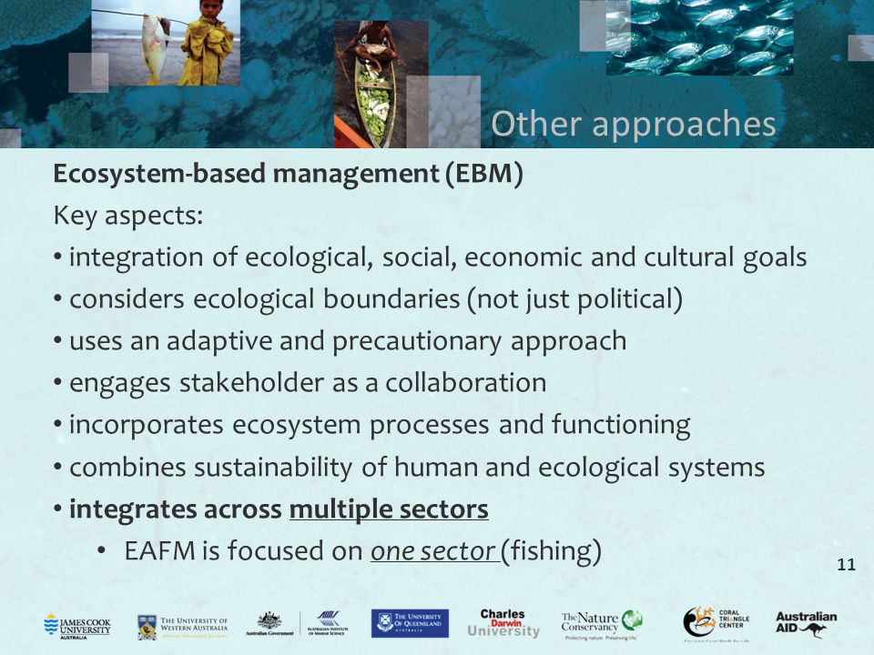 11 Other approaches Ecosystem-based management (EBM) Key aspects: integration of ecological, social, economic and cultural goals considers ecological boundaries (not just political) uses an adaptive and precautionary approach engages stakeholder as a collaboration incorporates ecosystem processes and functioning combines sustainability of human and ecological systems integrates across multiple sectors EAFM is focused on one sector (fishing)