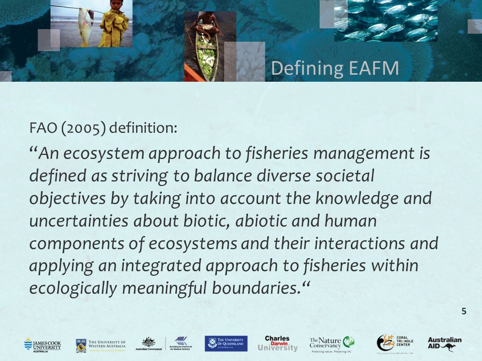 5 Defining EAFM FAO (2005) definition: An ecosystem approach to fisheries management is defined as striving to balance diverse societal objectives by taking into account the knowledge and uncertainties about biotic, abiotic and human components of ecosystems and their interactions and applying an integrated approach to fisheries within ecologically meaningful boundaries.