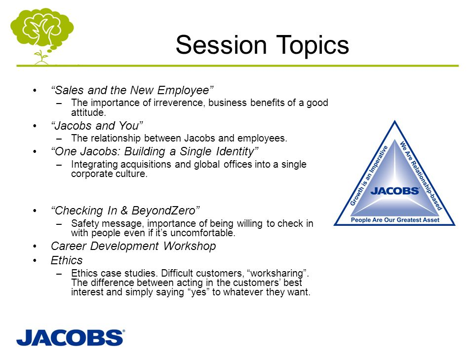"""Session Topics """"Sales and the New Employee"""" –The importance of irreverence, business benefits of a good attitude. """"Jacobs and You"""" –The relationship b"""