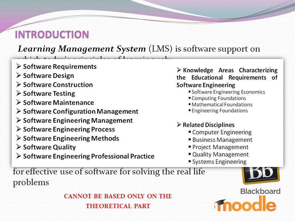 INTRODUCTION Learning Management System (LMS) is software support on which today's principles of learning rely (they support a set of tool for collabo