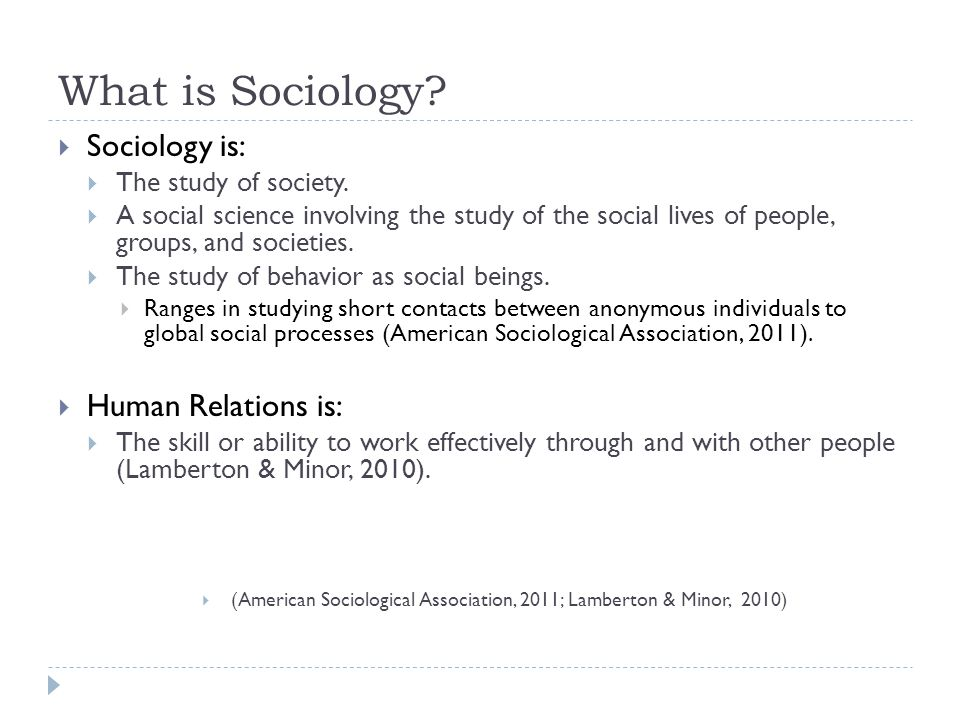What is Sociology.  Sociology is:  The study of society.