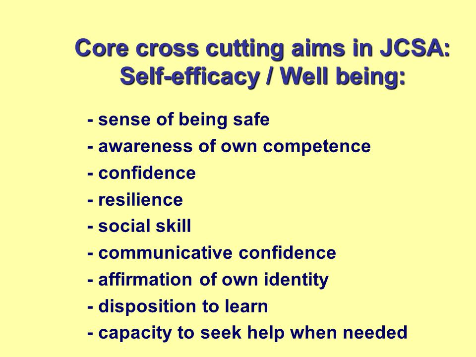Core cross cutting aims in JCSA: Self-efficacy / Well being: - sense of being safe - awareness of own competence - confidence - resilience - social skill - communicative confidence - affirmation of own identity - disposition to learn - capacity to seek help when needed