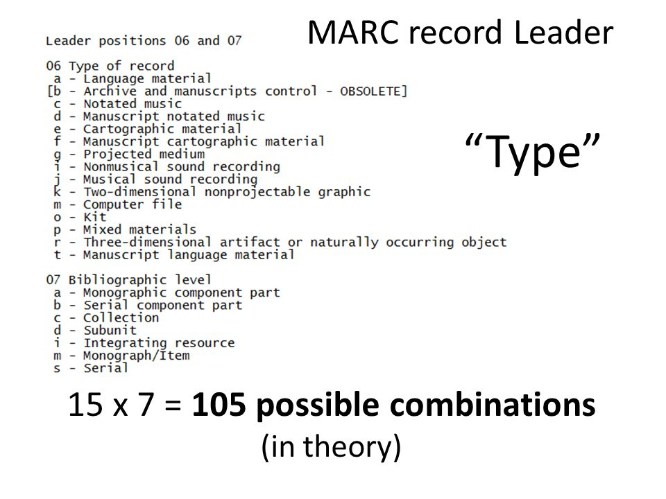 15 x 7 = 105 possible combinations (in theory) MARC record Leader Type