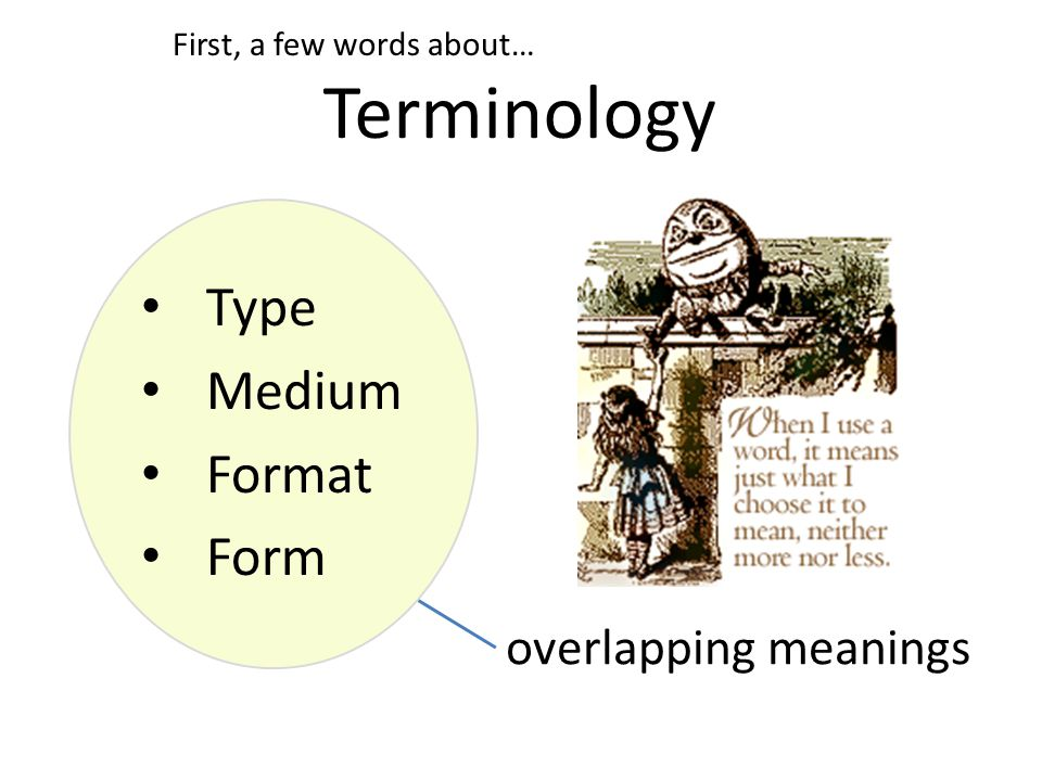 Type Medium Format Form Terminology First, a few words about… overlapping meanings