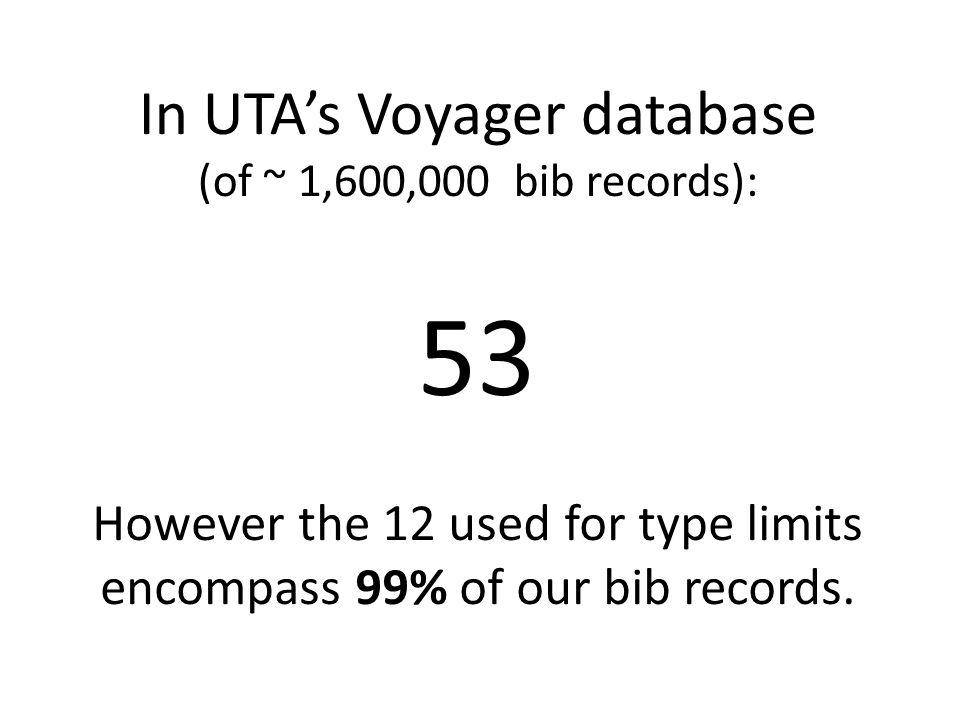 In UTA's Voyager database (of ~ 1,600,000 bib records): 53 However the 12 used for type limits encompass 99% of our bib records.