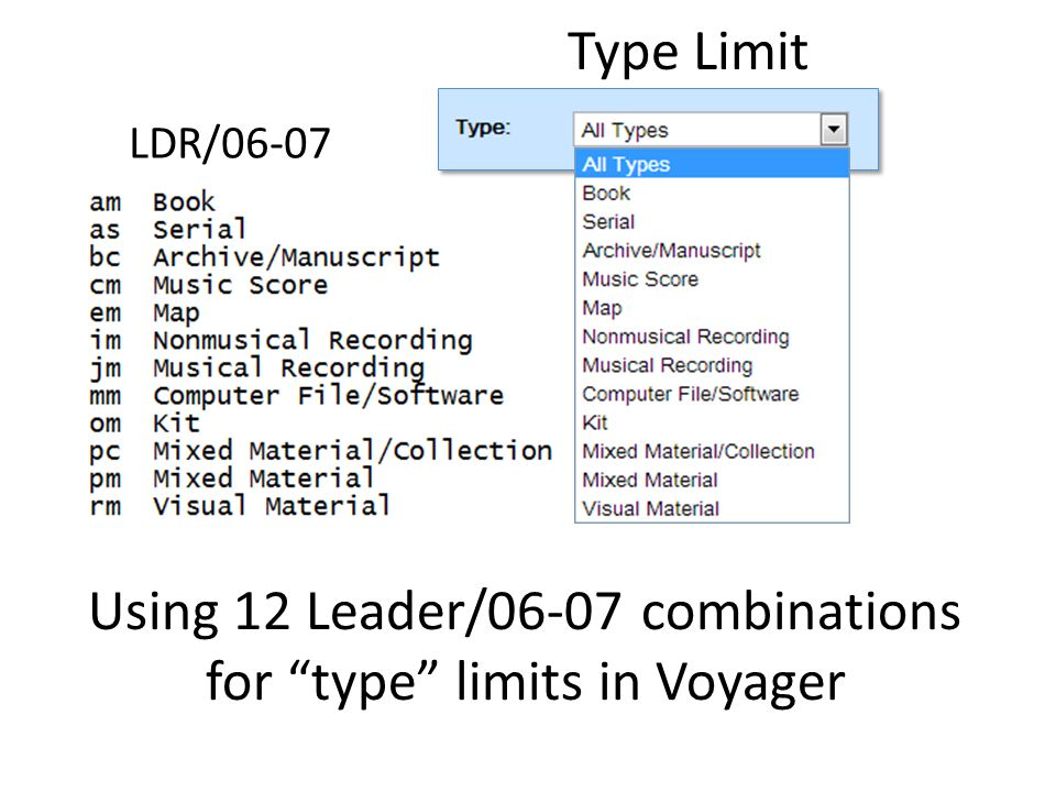Using 12 Leader/06-07 combinations for type limits in Voyager LDR/06-07 Type Limit