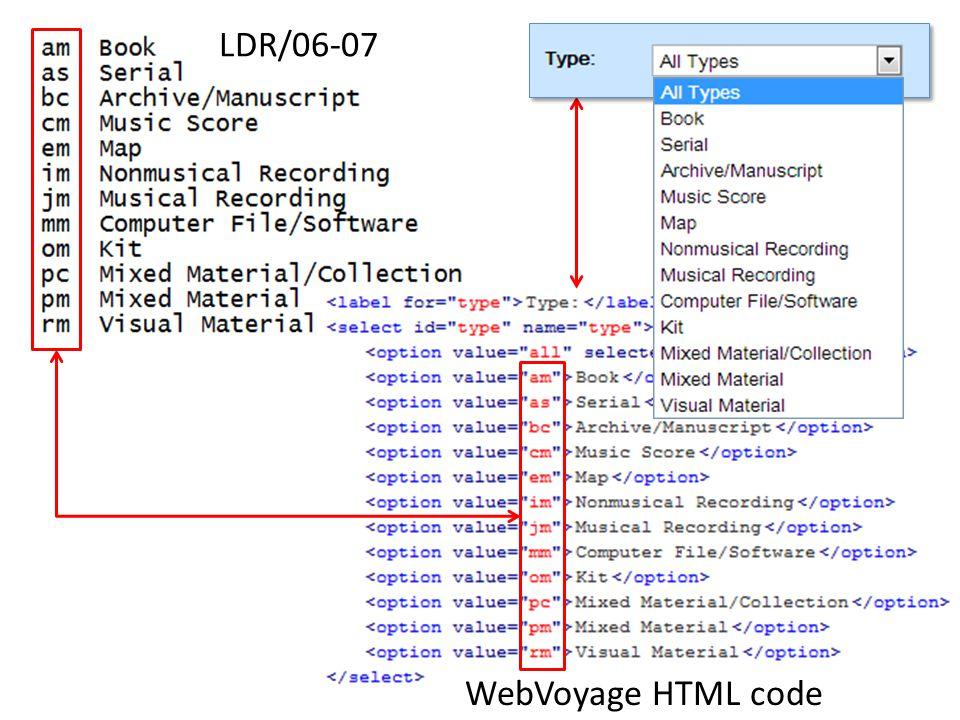WebVoyage HTML code LDR/06-07