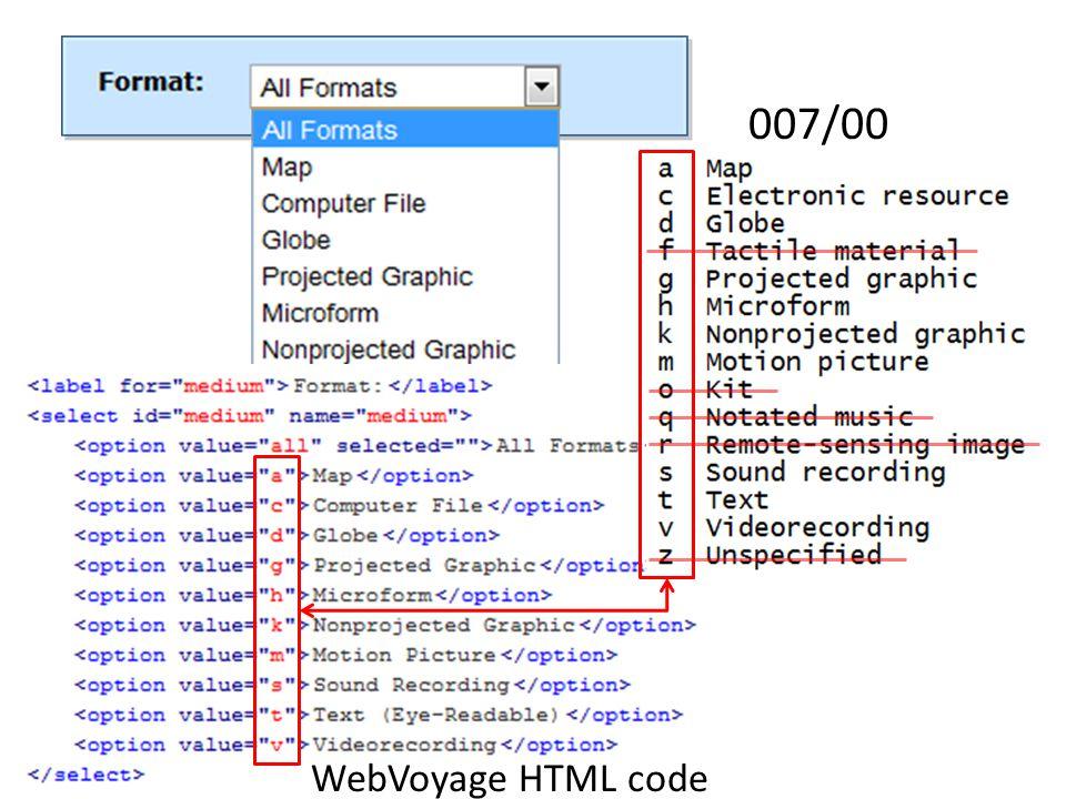 007/00 WebVoyage HTML code