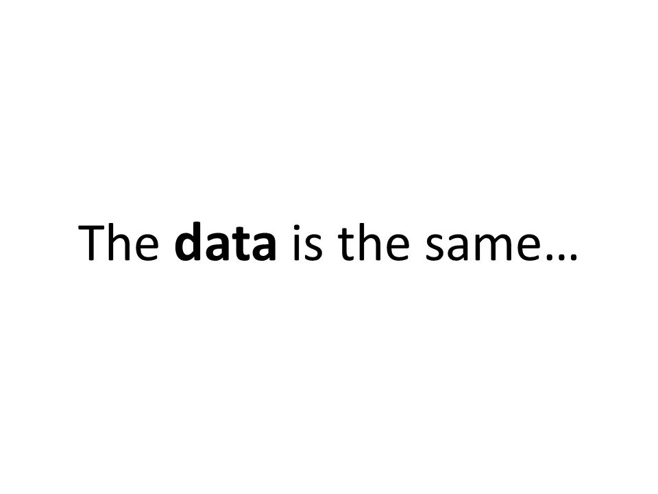 The data is the same…
